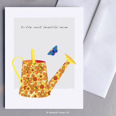 Mom Watering Can Card - seashell-paper-co