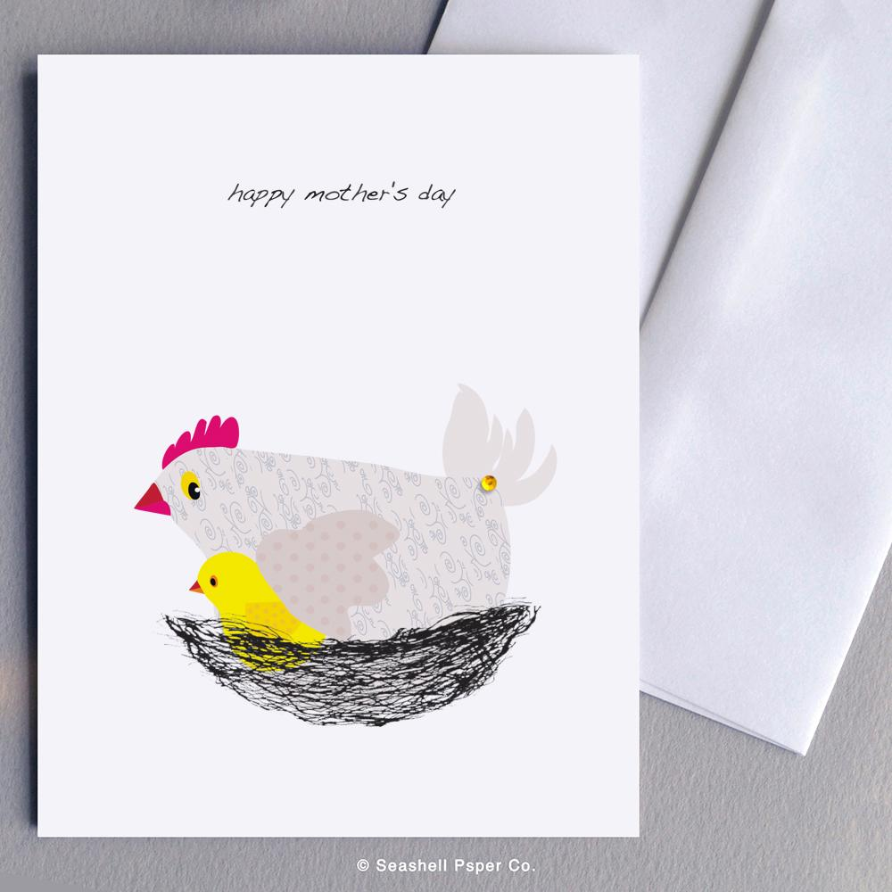 Mother's Day Hen And Chicken Card Wholesale (Package of 6) - seashell-paper-co