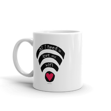 Mug, Wifi, Love, Cute, Funny, Gift, Online, Heart, Ceramic, Dishwasher and microwave safe, White and glossy, Printed in USA