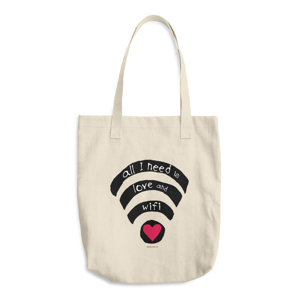 All I need is love and wifi Tote Bag - seashell-paper-co