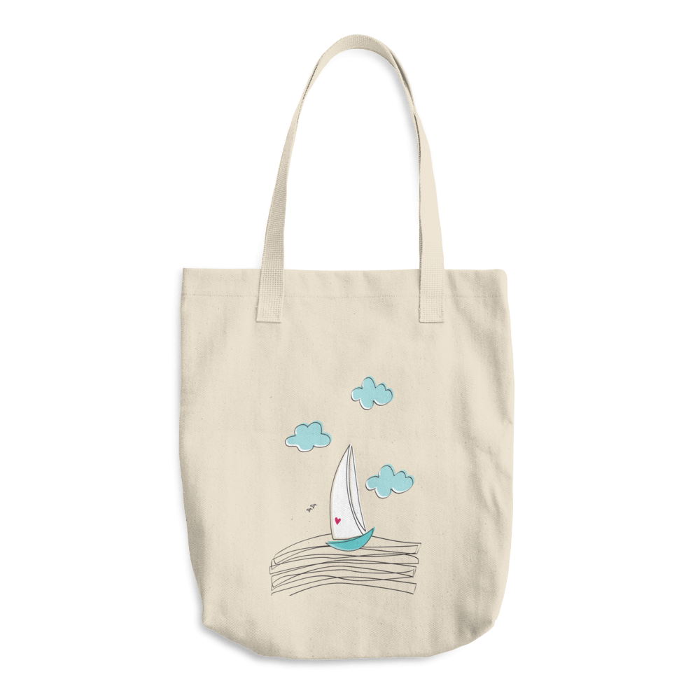 Sailboat Cotton Tote Bag - seashell-paper-co