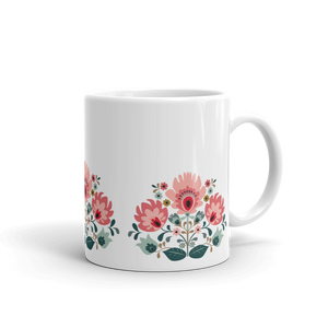 Mug, Coffee Mugs, Floral, Gift, For her, For him, Trendy, Urban, Ceramic , Ceramic, Dishwasher and microwave safe, White and glossy