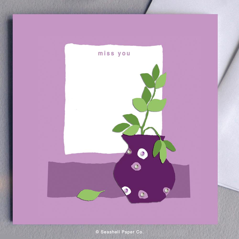 Love Miss you Purple Vase Card Wholesale (Package of 6) - seashell-paper-co
