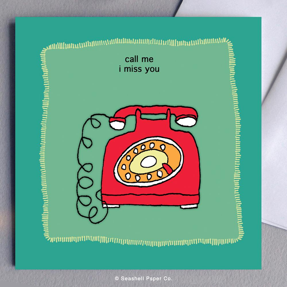 Miss You Telephone Card Wholesale (Package of 6) - seashell-paper-co