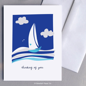 Greeting Cards, Love, Love Greeting Card, Valentine, Valentine's Day Greeting Card, Anniversary, Anniversary Greeting Card, Thinking of You, Thinking of You Greeting Card, Missing You, Missing You Greeting Card, Sailboat, Sailboat Thinking of You Greeting Card, Seashell Paper Co., Stationary, Made in Canada