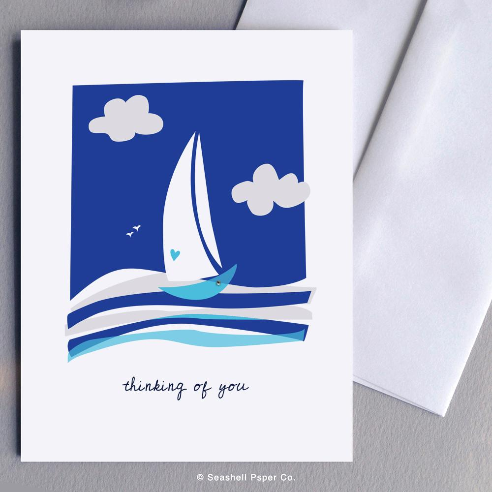 Love Thinking Of You Boat Card Wholesale (Package of 6) - seashell-paper-co