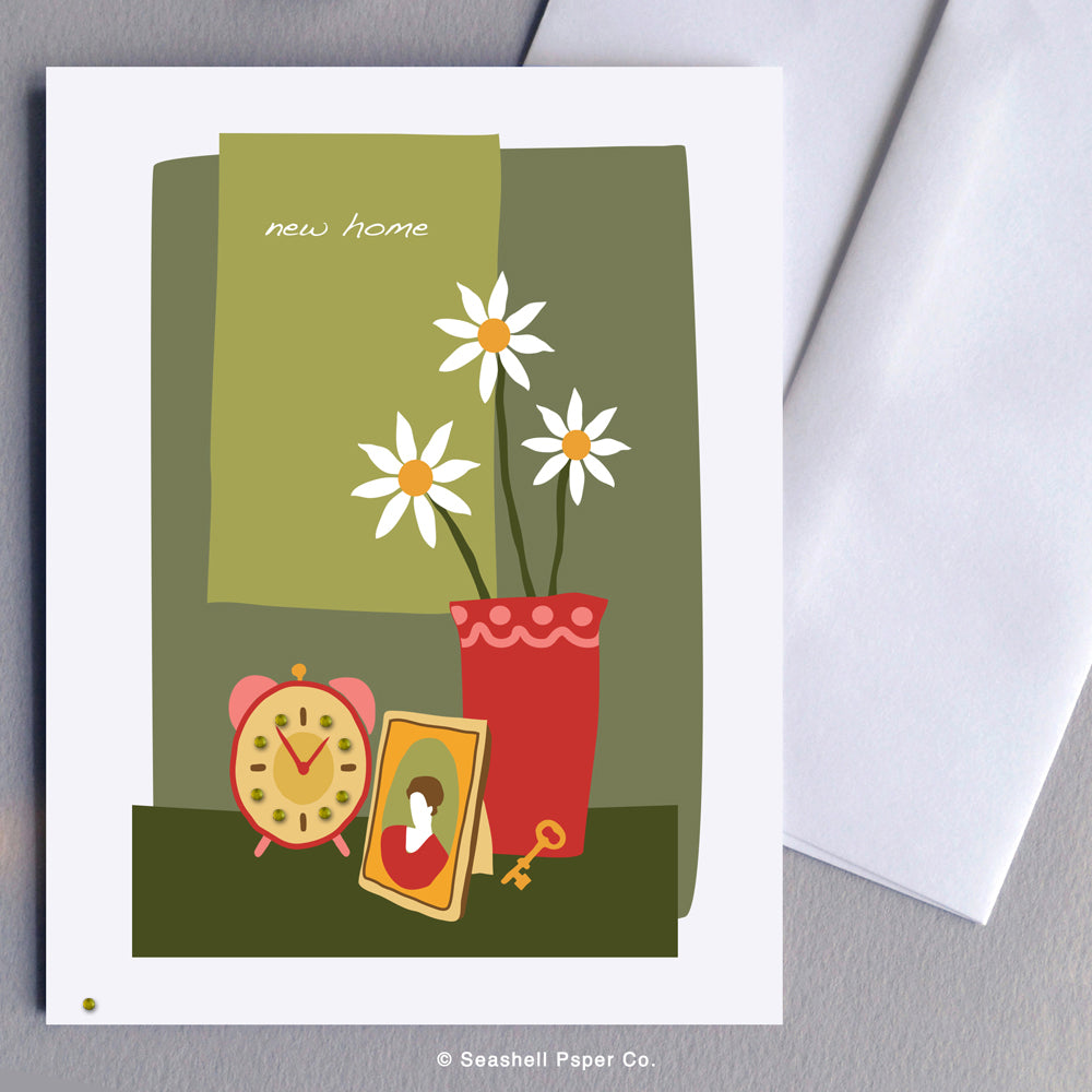 Greeting Card, New Home, New Home Card, New Home Greeting Card, Flowers in Vase, Flowers in Vase New Home Card, Flowers in Vase New Home Greeting Card, Seashell Paper Co., Stationary, Made in Canada, Sale, New Home Card