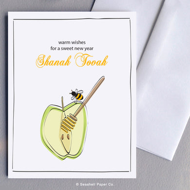 Holiday Seasons Rosh Hashanah Apple & Honey Bee Card - seashell-paper-co
