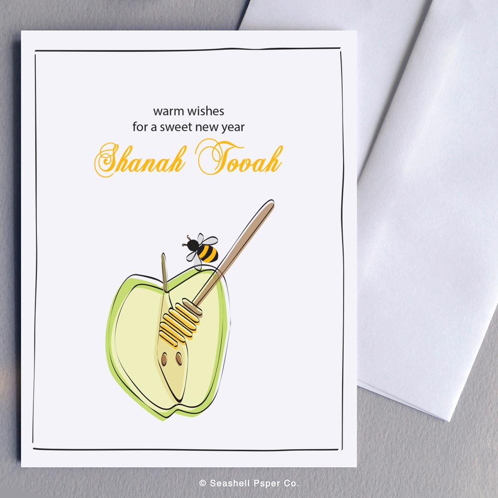 Rosh Hashanah Apple & Honey Bee Card Wholesale (Package of 6) - seashell-paper-co