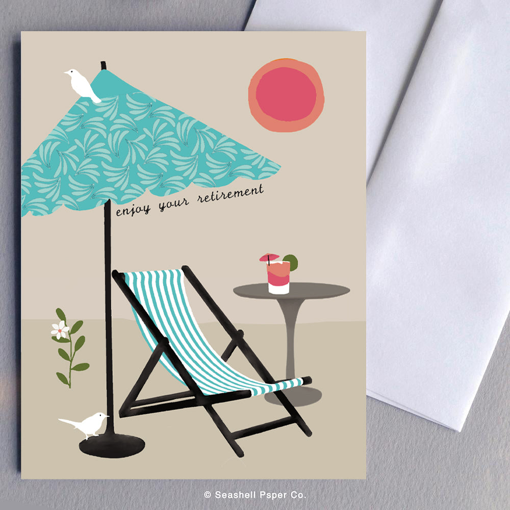Greeting Cards, Retirement, Retirement Card, Retirement Greeting Card, Umbrella, Rocking Chair, Seashell Paper Co., Stationary, Sale, Made in Canada
