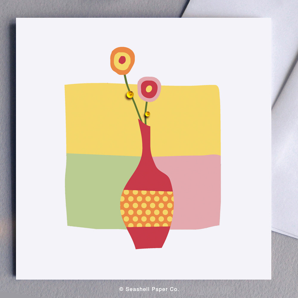 Thank You Vase with Flowers Card - seashell-paper-co