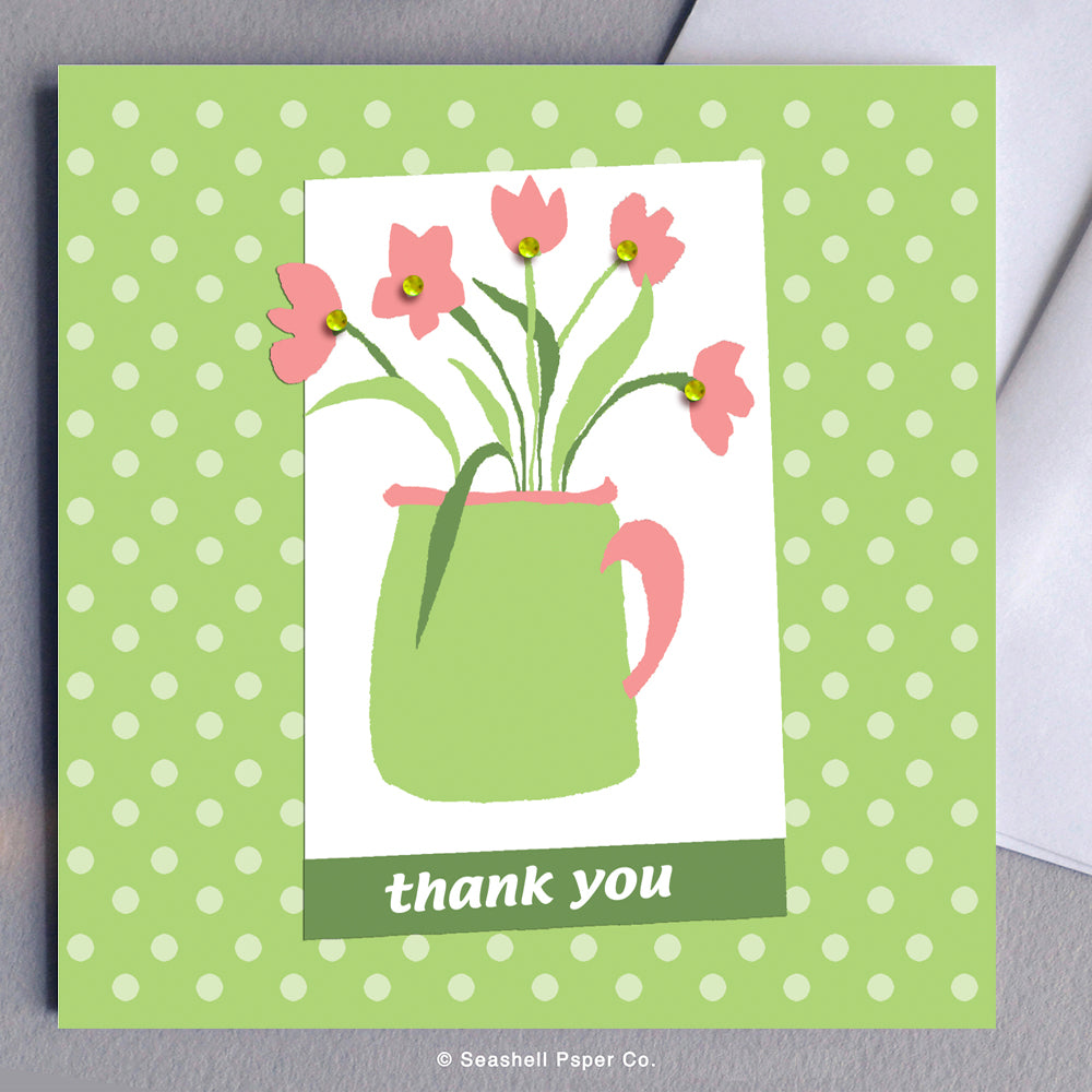 Greeting Cards, Flowers, Flower Card, Card with Flowers, Thank You, Thank You Card, Thank You Greeting Card, Flower in Pot, Flower in Pot Thank You Card, Flower in Pot Thank You Greeting Card, Pot with Flowers, Pot with Flowers Thank You Greeting Card, Seashell Paper Co., Made in Canada, Stationary, Sale