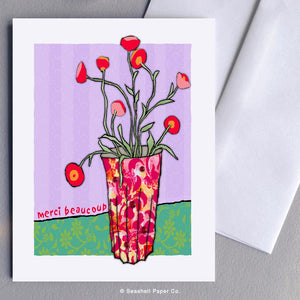 Thank You Flowers Card Wholesale (Package of 6) - seashell-paper-co