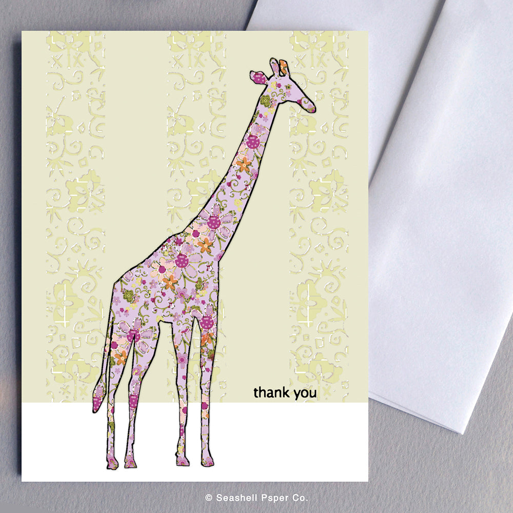 Greeting Cards, Thank You Cards, Thank You Greeting Cards, Giraffe, Giraffe Card, Giraffe Greeting Card, Giraffe Thank You, Giraffe Thank You Card, Giraffe Thank You Greeting Card, Thank You Giraffe Card, Thank You Giraffe Greeting Card, Seashell Paper Co., Stationary, Made in Canada, Sale