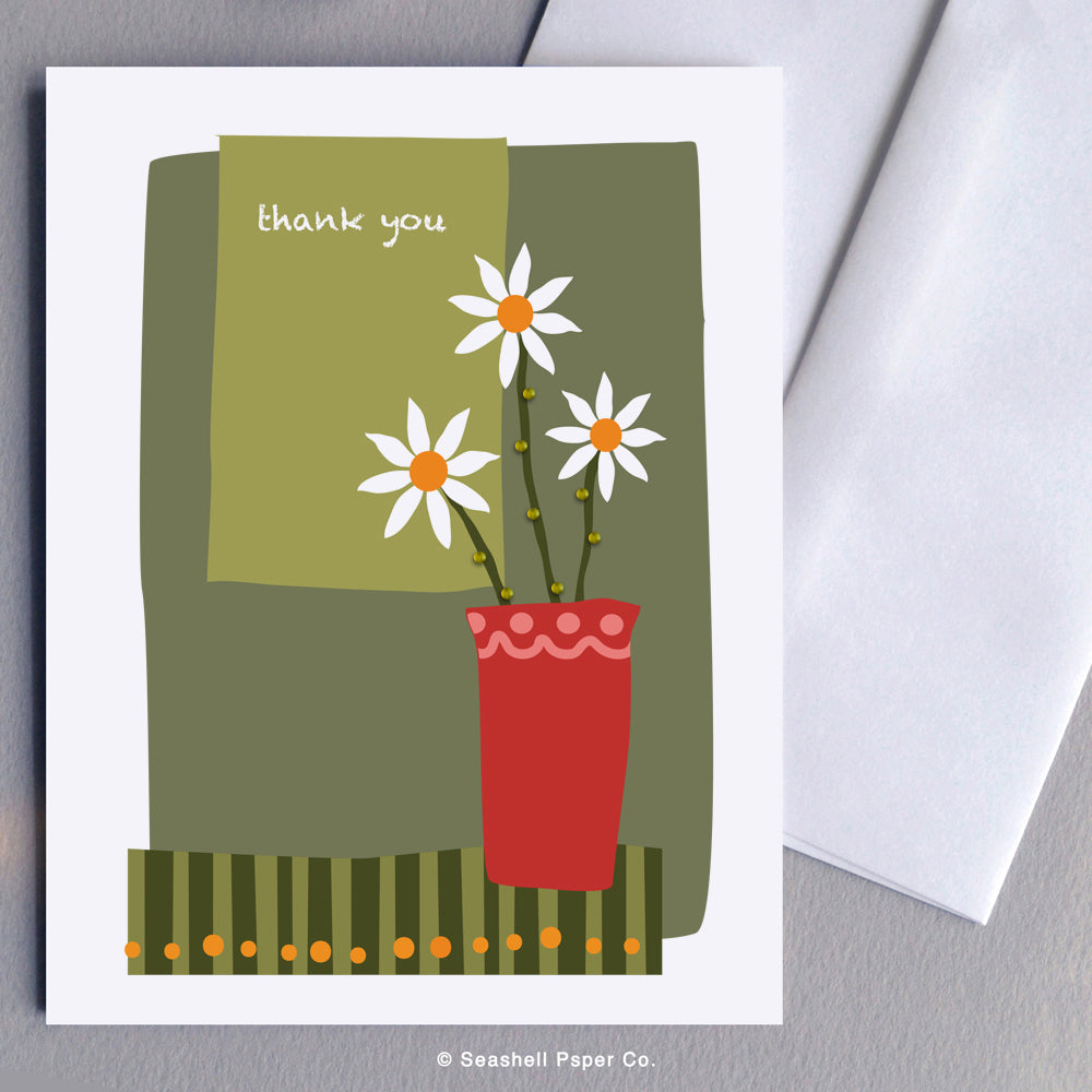 Greeting Cards, Flowers, Flower Card, Card with Flowers, Thank You, Thank You Card, Thank You Greeting Card, Flower in Vase, Flower in Vase Thank You Card, Flower in Vase Thank You Greeting Card, Vase with Flowers, Vase with Flowers Thank You Greeting Card, Seashell Paper Co., Made in Canada, Sale