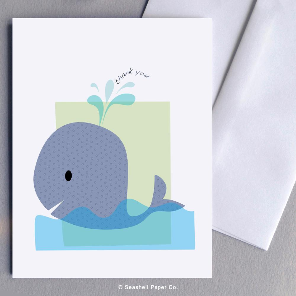 Thank You Whale Card Wholesale (Package of 6) - seashell-paper-co