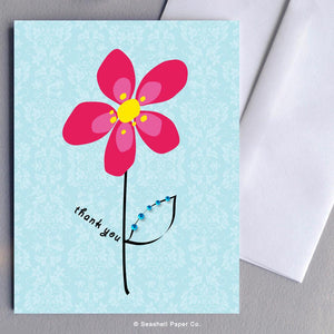 Thank You Flower Card Wholesale (Package of 6) - seashell-paper-co