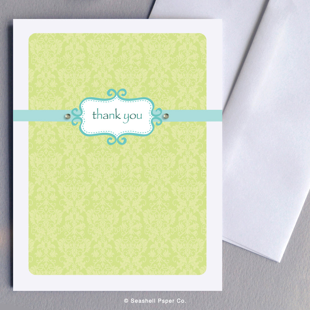 Thank You Flower Pattern Card - seashell-paper-co
