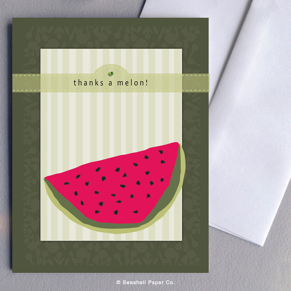 Greeting Cards, Thank You Cards, Thank You Greeting Cards, Watermelon, Watermelon Greeting Card, Watermelon Thank You, Watermelon Thank You Greeting Card, Thanks a million, Thanks a million Greeting Card, Thanks a Mellon, Thanks a Mellon Greeting Card, Seashell Paper Co., Made in Canada