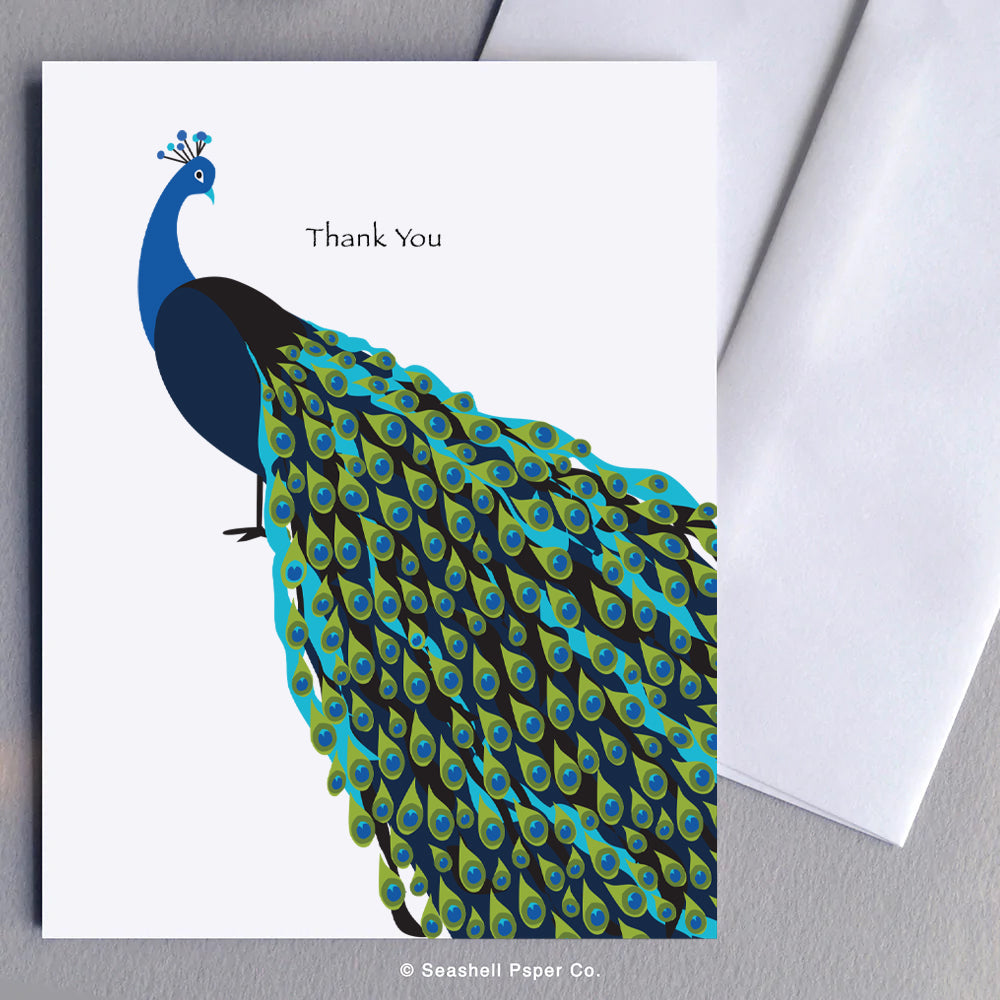 Greeting Cards, Thank You Cards, Thank You Greeting Cards, Peacock, Peacock Card, Peacock Greeting Card, Peacock Thank You, Peacock Thank You Card, Peacock Thank You Greeting Card, Thank You Peacock Card, Thank You Peacock Greeting Card, Seashell Paper Co., Stationary, Made in Canada