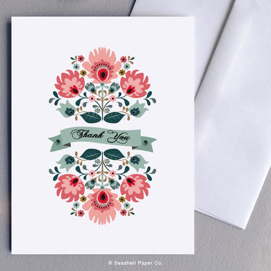 Thank You Floral Card Wholesale (Package of 6) - seashell-paper-co