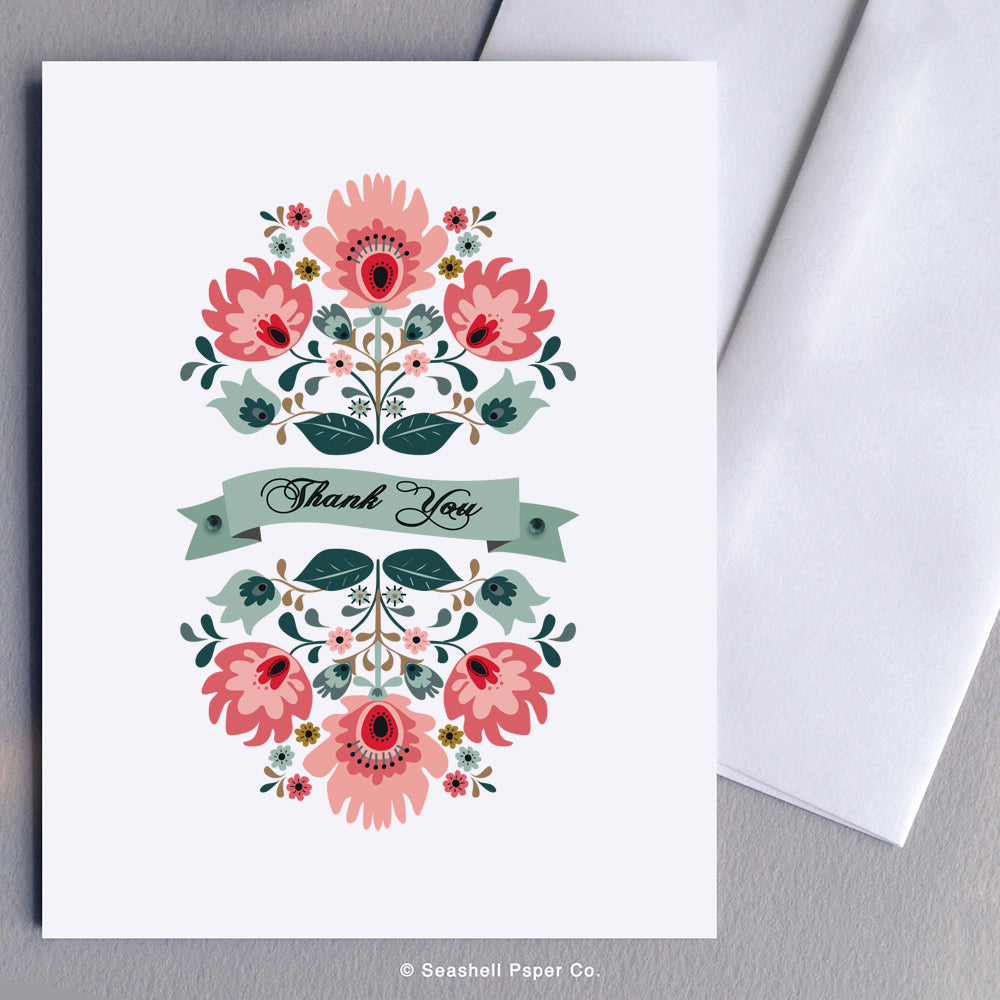 Greeting Cards, Thank You, Thank You Card, Thank You Greeting Cards, Vintage Floral, Floral, Vintage Floral Thank You Card, Floral Thank You Card, Floral Thank You Greeting Card, Vintage Floral Thank You Greeting Card, Seashell Paper Co., Made in Canada, Stationary