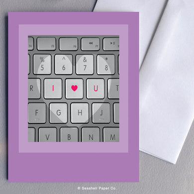 Greeting Cards, Love, Love Greeting Card, I Love You Greeting Card, Valentine, Valentine's Day Greeting Card, Anniversary, Anniversary Greeting Card, Keyboard, Keyboard Love Greeting Card, Keyboard Valentine's Day Greeting Card, Keyboard Anniversary Greeting Card, Seashell Paper Co., Stationary, Made in Canada, Sale