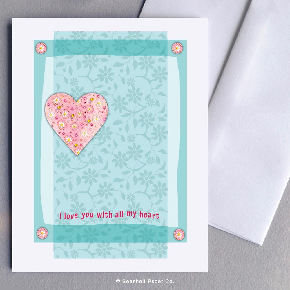 Love Valentine's Day Heart Shaped Card Wholesale (Package of 6) - seashell-paper-co