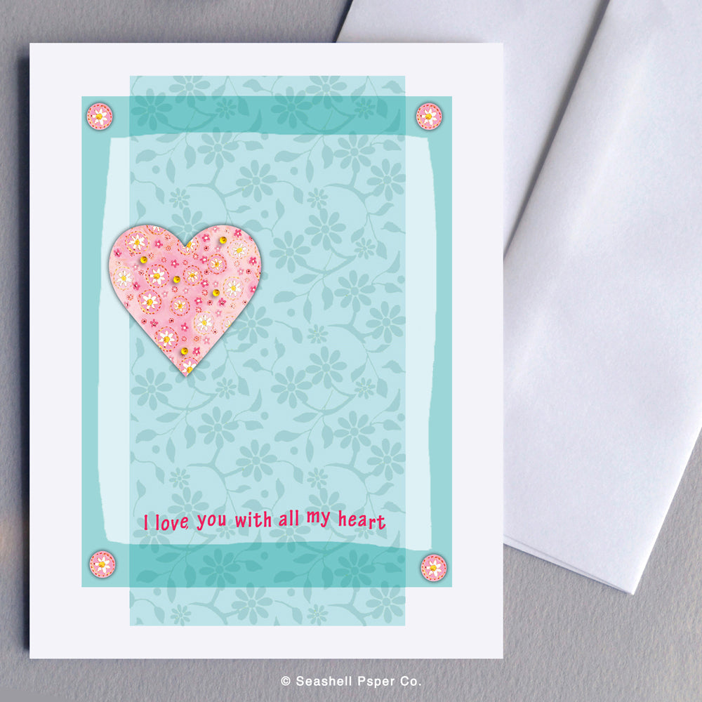 Love Heart Shaped Card - seashell-paper-co