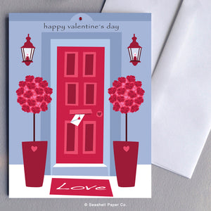 Greeting Cards, Love, Valentine, Valentine's Day, Valentine's Day Card, Valentine's Day Greeting Card, Happy Valentine's Day, Happy Valentine's Day Card, Happy Valentine's Day Greeting Card, Red Door, Red Door Happy Valentine's Day Card, Seashell Paper Co., Stationary, Made in Canada, Sale, Front Door Valentine Card