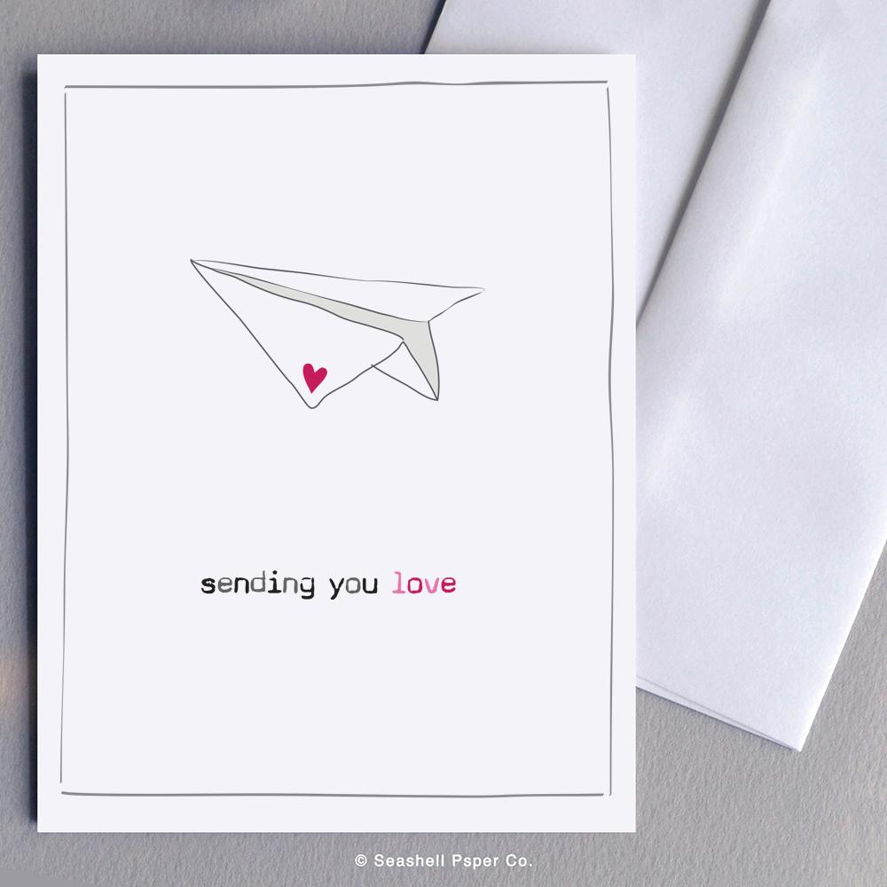 Love Paper Plane Card Wholesale (Package of 6) - seashell-paper-co