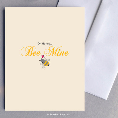 Greeting Cards, Valentine, Valentine card, Valentine greeting card, Valentine's Day, Valentine's Day Card, Valentine's Day Greeting Card, Honey Bee Valentine Card, Honey Bee Valentine Greeting Card, Honey Bee, Honey Bee Valentine's day card, Honey Bee Valentine's Day Card, Seashell Paper Co., Made in Canada, Stationary