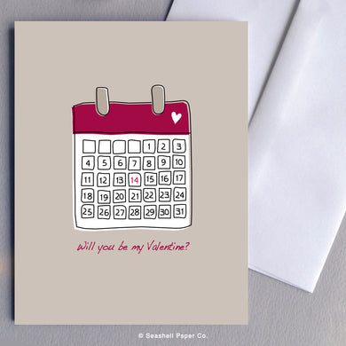 Valentine's Day Calendar Card - seashell-paper-co