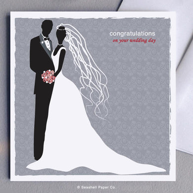 Wedding Bride & Groom Card Wholesale (Package of 6) - seashell-paper-co