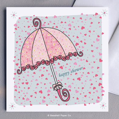 Greeting Cards, Bridal Shower, Bridal Shower Card, Bridal Shower Greeting Card, Umbrella, Umbrella Bridal Shower, Umbrella Bridal Shower Card, Umbrella Bridal Shower Greeting Card, Pink Umbrella, Pink Umbrella Bridal Shower Card, Pink Umbrella Bridal Shower Greeting Card, Seashell Paper Co., Made in Canada, Sale