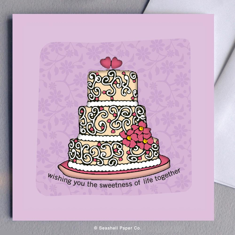 Wedding Cake Card Wholesale (Package of 6) - seashell-paper-co