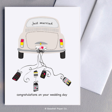 Greeting Cards, Marriage, Marriage Card, Marriage Greeting Card, Vintage Car, Vintage Car Marriage Card, Wedding, Wedding Card, Wedding Greeting Card, Vintage Car Wedding Card, Vintage Car Wedding Greeting Card, Just Married, Just Married Wedding Card, Just Married Vintage Car Card, Seashell Paper Co., Made in Canada, Just Married Vintage Beetle Bug Wedding Card