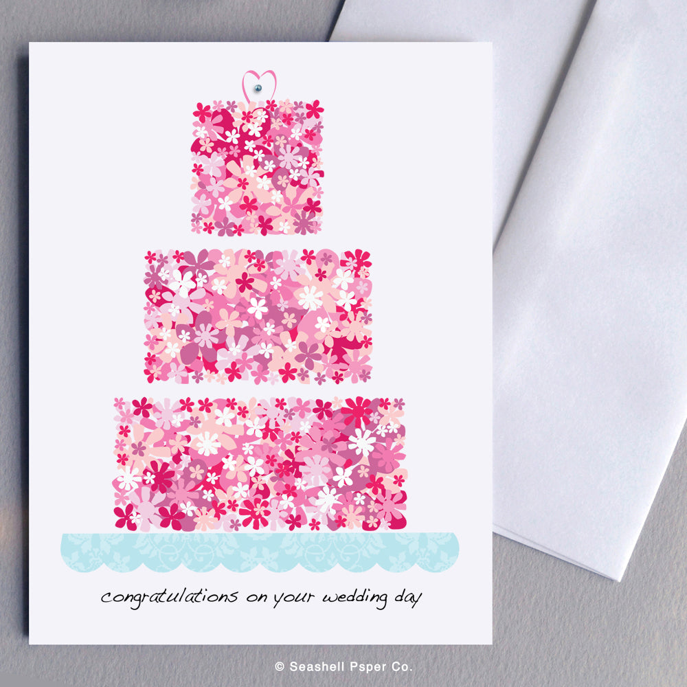 Wedding Flowers Cake Card - seashell-paper-co