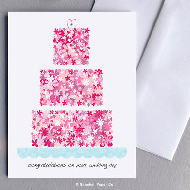 Wedding Flowers Cake Card Wholesale (Package of 6) - seashell-paper-co