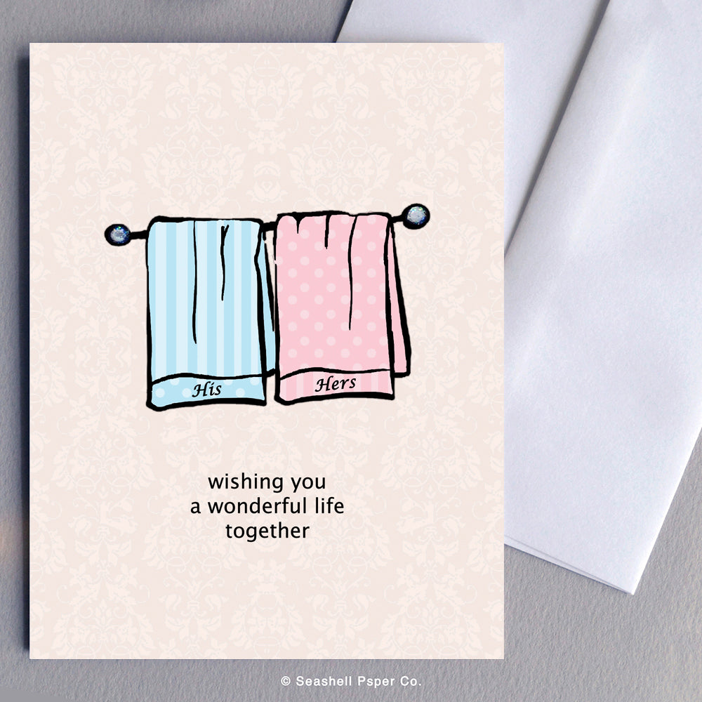 Wedding Towels Card - seashell-paper-co