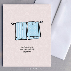 His & His Towels Card - seashell-paper-co