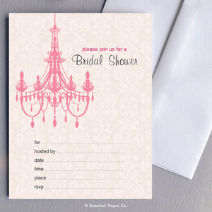 Wedding Bridal Shower Pink Chandelier Invitations (6 cards and 6 envelopes) - seashell-paper-co