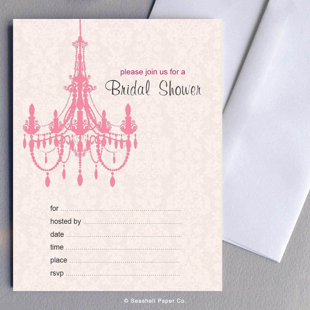 Wedding Bridal Shower Pink Chandelier Invitations Wholesale (4 Packages, 24 cards & 24 envelopes) - seashell-paper-co