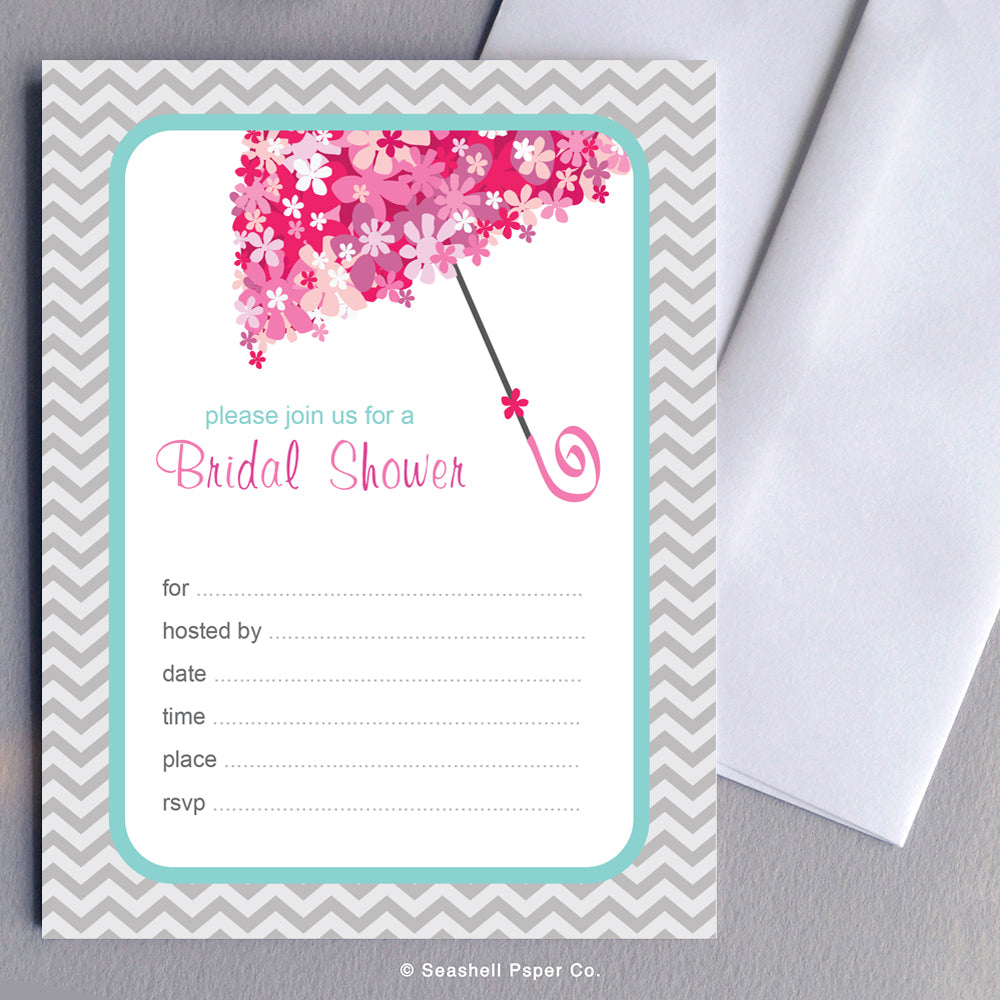 Wedding Bridal Shower Invitation (6 cards and 6 envelopes) - seashell-paper-co