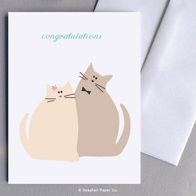 Wedding & Anniversary Cute Cats Card Wholesale (Package of 6) - seashell-paper-co