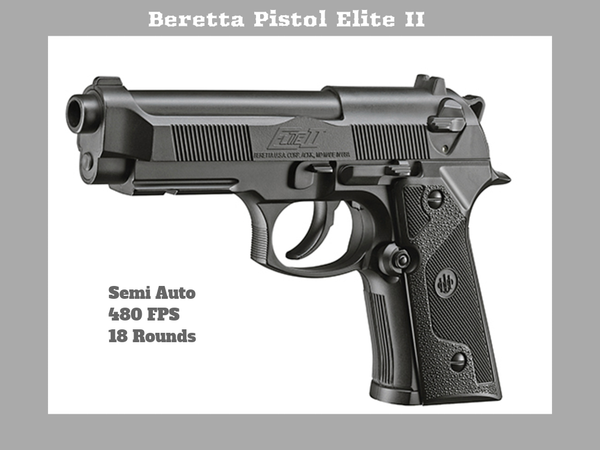 Umarex Beretta Pistol Elite II .177 BB, Semi Auto  480 FPS, Authorized Retailer