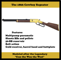 The All NEW, 1866 Cowboy Repeater, BB or Pellet, 800 FPS, Must See!!
