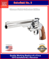 Schofield Shiny Nickel/Chrome CO2 BB Revolver, 7 Inch Top Break Co2
