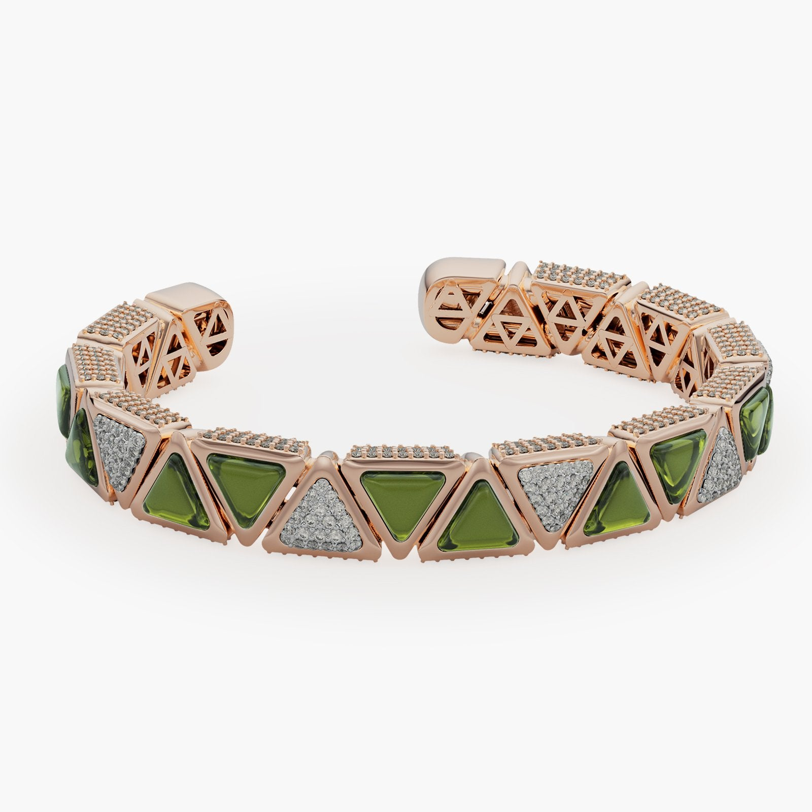Bracelet BB Mirror Exquisite Rose Gold Green Tourmaline and Diamonds