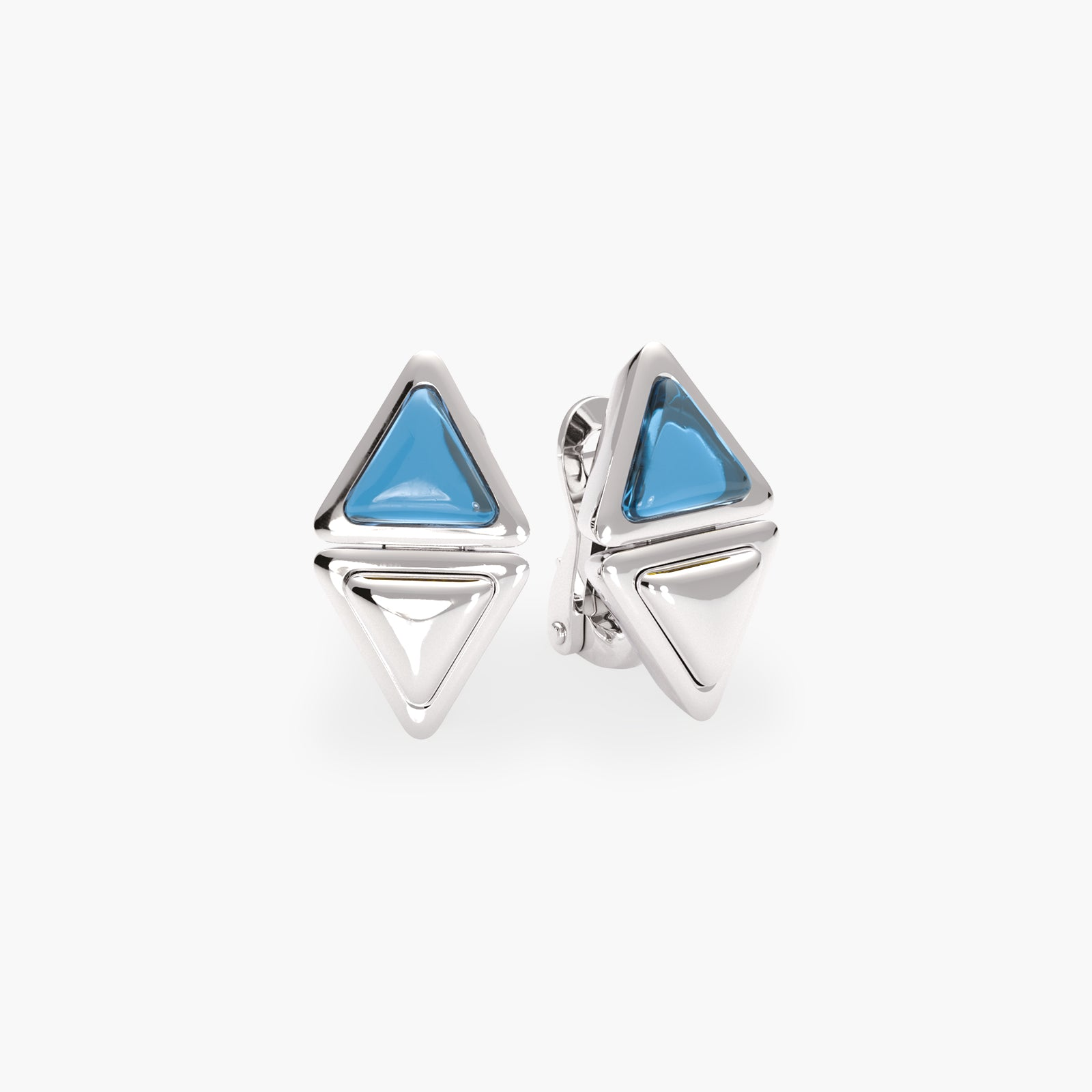 Earrings Short Mirror Gem White Gold Blue Topaz